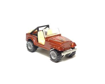 Hot Wheels Jeep CJ-7 metalflake Red/Brown with GYG Real Riders, loose