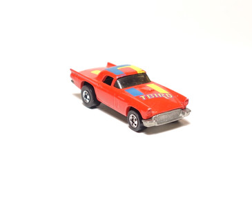 Hot Wheels '57 T-Bird in Red with Yellow/Blue/Magenta tampo, loose