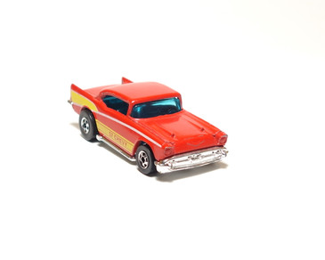 Hot Wheels '57 Chevy in enamel red with yellow tampo, blackwall wheels, loose (x575)