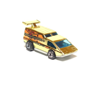 Hot Wheels Spoiler Sport, Gold Chrome from Gold Machine 6-pack, Hong Kong Base, BW wheels, loose