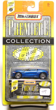 Matchbox Premiere Collection Series 2 Corvette Stingray III in metallic Blue