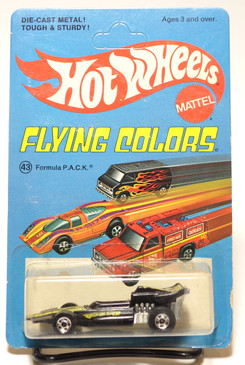 Hot Wheels Flying Colors Card - Formula Pack in Black, Yellow Tampo with Blackwall Wheels MOC