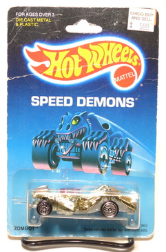 Hot Wheels Speed Demons on Old Blister, Zombot, Gold Chrome w/Pink Gun