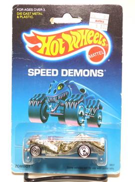 Hot Wheels Speed Demons on Old Blister, Zombot, Gold Chrome w/Lavender Ray Gun