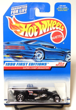 Hot Wheels 1998 First Editions Super Comp Dragster Black, 3 decal variation, Coll#655 (hwbp321)