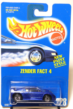 Hot Wheels Blue Card Zender Fact 4 in metalflake blue, clear windows, gray interior, UH Coll#228
