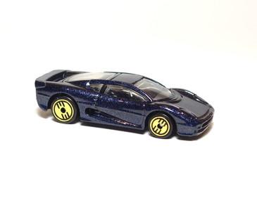 Hot Wheels Jaguar XJ220 Dark metalflake Blue with Gold UH wheels, Malaysia plastic base, mint loose
