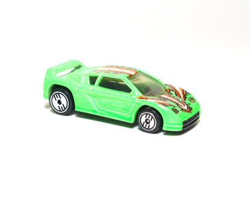 Hot Wheels Zender Fact 4, Coll#228 Neon Green, Clear windows, UH wheels, Malaysia plastic base, mint loose