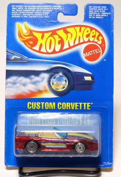 Hot Wheels Custom Corvette on International Card, Candy Apple Red, UH wheels MOC