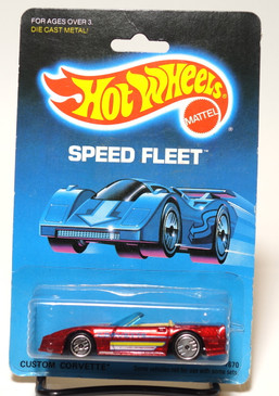 Hot Wheels Custom Corvette on Speed Fleet Card, Candy Apple Red, UH wheels MOC