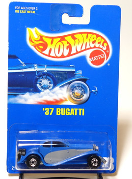 Hot Wheels Collector #28 '37 Bugatti in Blue/Gray with Rare Blackwall wheels