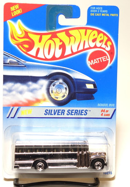 Hot Wheels 1995 Silver Series School Bus with Dark Tint window and BW wheels, #328
