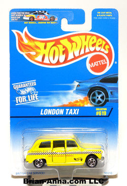 Hot Wheels 1997 London Taxi in Yellow, coll#619