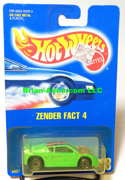 Hot Wheels Blue Back Coll#228, Zender Fact 4, Neon Green, Clear Windshield Variation(413)