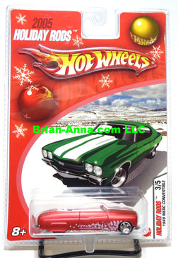 Hot Wheels 2005 Holiday Rods, 1949 Merc Convertible in Satin Red