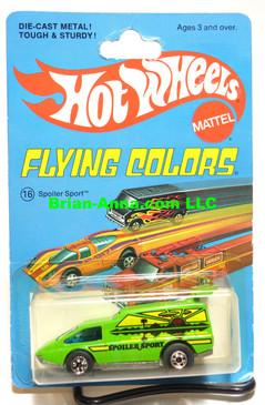 Hot Wheels Spoiler Sport in Green, Blackwall Wheels, two slot rear window.  Flying Colors Package