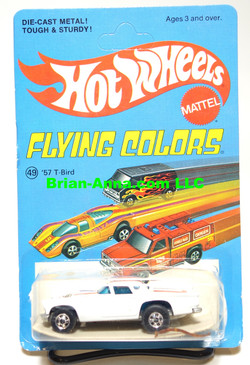 Hot Wheels '57 T-Bird in White, Blackwall Wheels, Flying Colors Package (523)