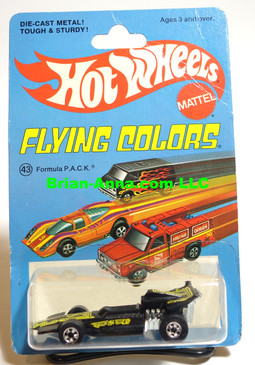 Hot Wheels Formula P.A.C.K in Black, Blackwall Wheels, Flying Colors Package