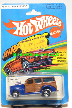 Hot Wheels H iRakers '40's Woodie in Blue Enamel, Blackwalls, Hong Kong, Mint on card (538)