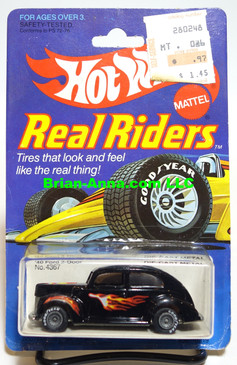 Hot Wheels Real Riders,  '40 Ford 2-door in Black w/flames on Real Riders Card