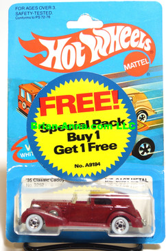 Hot Wheels '35 Classic Caddy in Maroon, Whitewalls, Malaysia base (ms3-568)