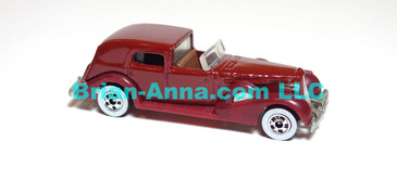 Hot Wheels  '35 Classic Caddy, Burgundy, Whitewall wheels, Malaysia base, loose (ms-625)
