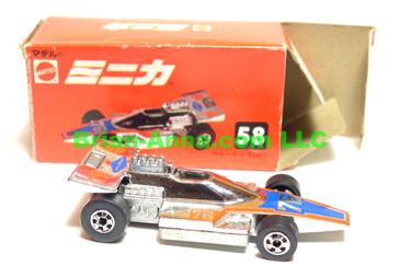 Hot Wheels Mattel Japan Box,  Formula 5000 in Chrome with blackwalls