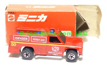 Hot Wheels Mattel Japan Box, Emergency Squad in Red enamel with blackwalls
