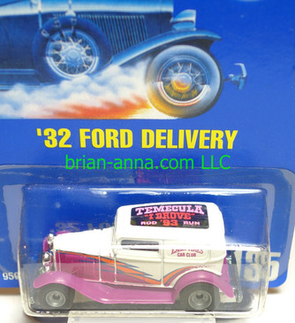 "Hot Wheels '32 Ford Delivery, Early Times Car Club ""Temcula I Drove"" tampo on roof, from 1993 Rod Run"