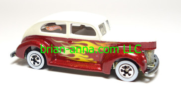 Hot Wheels Custom, Fat Fender 40 Ford, White over Red