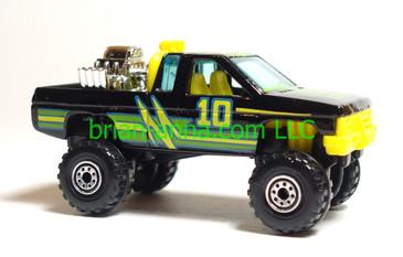 Hot Wheels Nissan Hardbody 4x4, Black, Yellow interior, CT wheels, loose