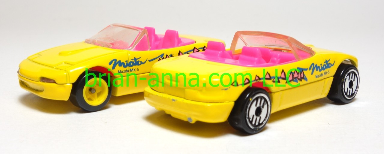 Hot Wheels Mazda Miata MX-5 - Pair of Prototypes in Yellow , loose