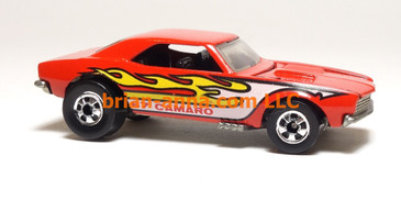 Hot Wheels '67 Camaro in Red w/Yellow, White, Black Flames, loose