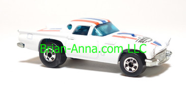 Hot Wheels '57 T-Bird in White, Blackwall wheels, Hong Kong base, loose
