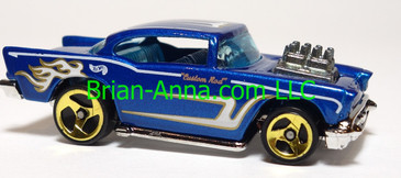 Hot Wheels '57 Chevy, Blue, Gold/White tampo, Sp3 wheels,  Thailand base, loose