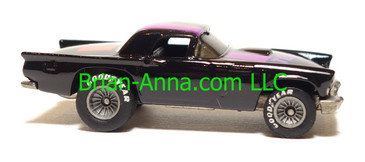 Hot Wheels '57 T-Bird, Black, red/magenta/blue tampo, Gray Hub Real Riders, loose