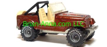 Hot Wheels Jeep CJ-7, Metalflake Red/Brown, Gray hub Real Riders, Malaysia base, loose