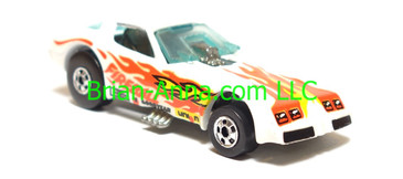 Hot Wheels Firebird Funny Car, White, Fireball tampo, Blackwall wheels, Malaysia base, loose