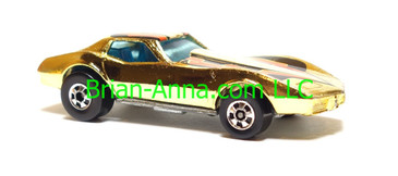Hot Wheels Corvette Stingray in Gold Chrome, Hong Kong base, Blackwall wheels, loose