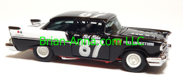 Hot Wheels 1957 Chevy 150, Vintage Race Holder, Black/White, China base, loose