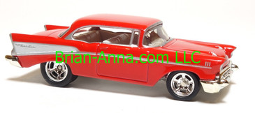 Hot Wheels '57 Chevy Bel Air, Red with side trim, Rockin Rods Series, Real Riders, China base, loose