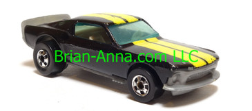 Hot Wheels Mustang Stocker, Black with Yellow rally stripe, bw wheels, Malaysia base, loose