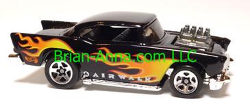 Hot Wheels '57 Chevy (exposed engine) Black, sp5 wheels, Airwalk promo, Malaysia base, loose