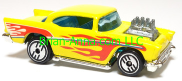 Hot Wheels '57 Chevy (exposed engine) Yellow w/flames, UH wheels, Malaysia base, loose