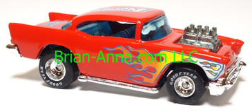 Hot Wheels '57 Chevy (exposed engine) Red w/flames, Real Riders, Norwalk Raceway promo, Thailand base, loose