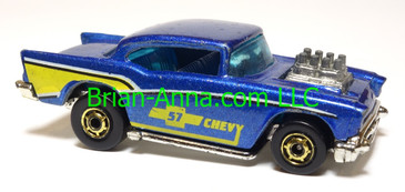 Hot Wheels '57 Chevy (exposed engine) Metalflake Blue, hogd wheels, Malaysia base, loose
