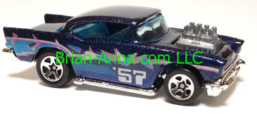 Hot Wheels '57 Chevy (exposed engine) Steel Stamp Series, Metalflake Blue, sp5 wheels, Malaysia base, loose