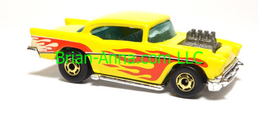 Hot Wheels '57 Chevy (exposed engine) Yellow with flames, hogd wheels, Malaysia base, loose