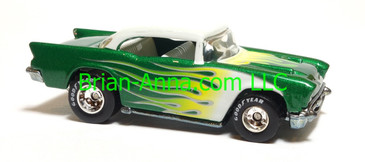 Hot Wheels '57 Chevy Metalflake Green, Real Riders, Thailand base, loose