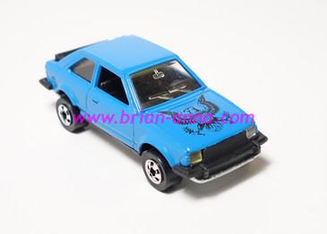 Hot Wheels Leo India Mattel Ford Escort, Blue, Black Eagle tampo, loose